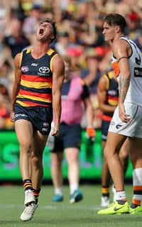 ADELAIDE, AUSTRALIA - MARCH 26: Riley Knight of the Crows celebrates a goal during the 2017 AFL round 01 match between the Adelaide Crows and the GWS Giants at Adelaide Oval on March 26, 2017 in Adelaide, Australia. (Photo by AFL Media)