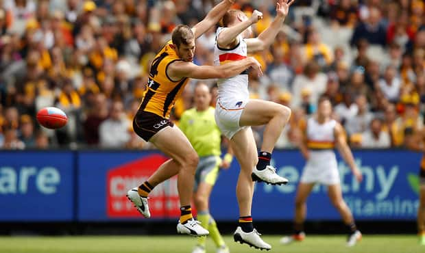 MELBOURNE, AUSTRALIA - APRIL 01: Grant Birchall of the Hawks and Tom Lynch of the Crows compete for the ball during the 2017 AFL round 02 match between the Hawthorn Hawks and the Adelaide Crows at the Melbourne Cricket Ground on April 01, 2017 in Melbourne, Australia. (Photo by Michael Willson/AFL Media)