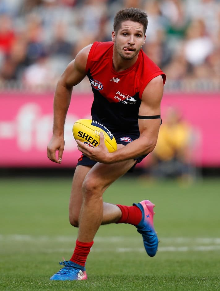 MELBOURNE, AUSTRALIA - APRIL 02: Jesse Hogan of the Demons in action during the 2017 AFL round 02 match between the Melbourne Demons and the Carlton Blues at the Melbourne Cricket Ground on April 02, 2017 in Melbourne, Australia. (Photo by Michael Willson/AFL Media)