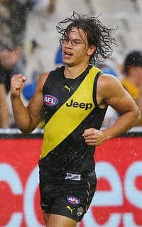 Daniel Rioli after kicking his second goal against West Coast last Saturday