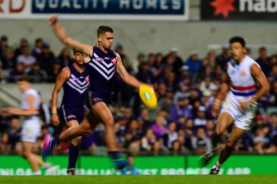 PERTH, AUSTRALIA - APRIL 08: Stephen Hill of the Dockers kicks the ball during the 2017 AFL round 03 match between the Fremantle Dockers and the Western Bulldogs at Domain Stadium on April 08, 2017 in Perth, Australia. (Photo by Daniel Carson/AFL Media)