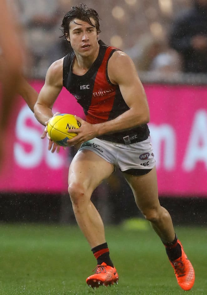MELBOURNE, AUSTRALIA - APRIL 09: Andrew McGrath of the Bombers in action during the 2017 AFL round 03 match between the Carlton Blues and the Essendon Bombers at the Melbourne Cricket Ground on April 09, 2017 in Melbourne, Australia. (Photo by Michael Willson/AFL Media)