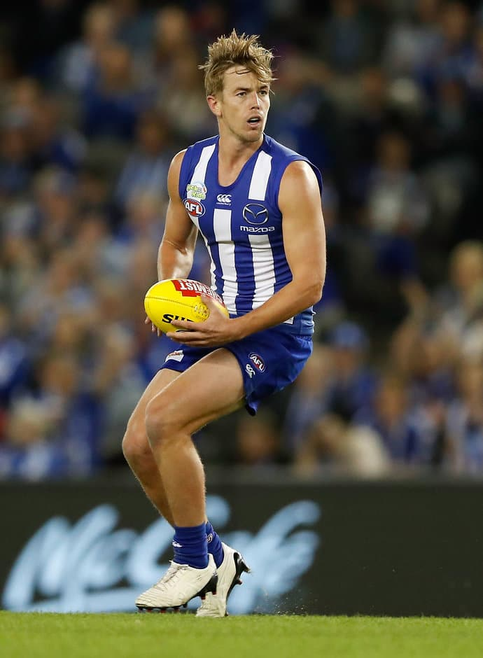 MELBOURNE, AUSTRALIA - APRIL 14: Trent Dumont of the Kangaroos in action during the 2017 AFL round 04 match between the North Melbourne Kangaroos and the Western Bulldogs at Etihad Stadium on April 14, 2017 in Melbourne, Australia. (Photo by Adam Trafford/AFL Media)