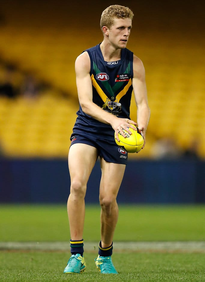 MELBOURNE, AUSTRALIA - APRIL 15: Andrew McPherson in action during the AFL Academy v Northern Blues match at Etihad Stadium in Melbourne, Australia on April 15, 2017. (Photo by Michael Willson/AFL Media)