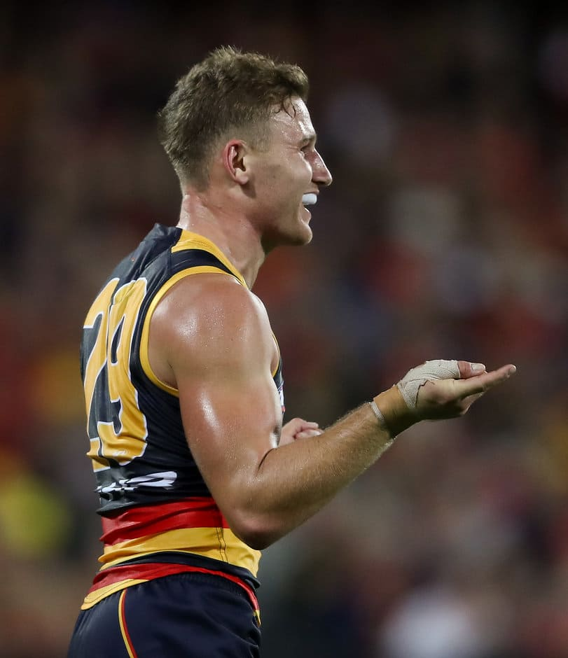 ADELAIDE, AUSTRALIA - APRIL 15: Rory Laird of the Crows celebrates a goal during the 2017 AFL round 04 match between the Adelaide Crows and the Essendon Bombers at the Adelaide Oval on April 15, 2017 in Adelaide, Australia. (Photo by AFL Media)