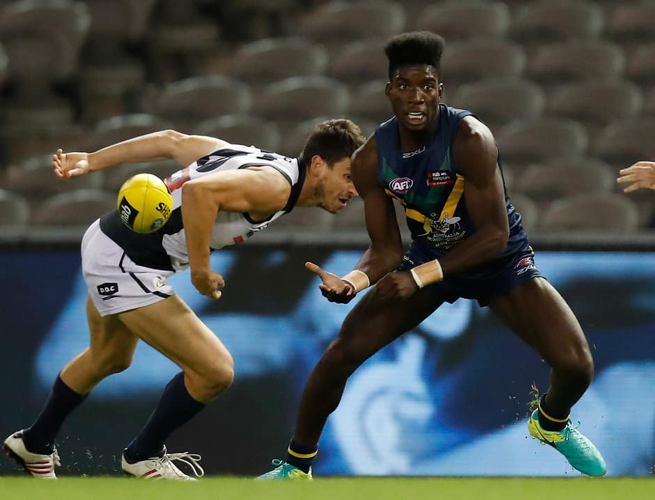 MELBOURNE, AUSTRALIA - APRIL 15: Kwaby Boakye in action during the AFL Academy v Northern Blues match at Etihad Stadium in Melbourne, Australia on April 15, 2017. (Photo by Michael Willson/AFL Media)
