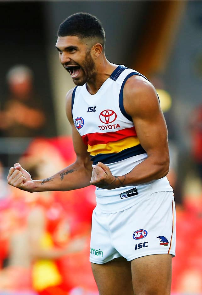 GOLD COAST, AUSTRALIA - APRIL 22:Curtly Hampton of the Crows celebrates a goal during the 2017 AFL round 05 match between the Gold Coast Suns and the Adelaide Crows at Metricon Stadium on April 22, 2017 in Gold Coast, Australia. (Photo by Jason O'Brien/AFL Media)