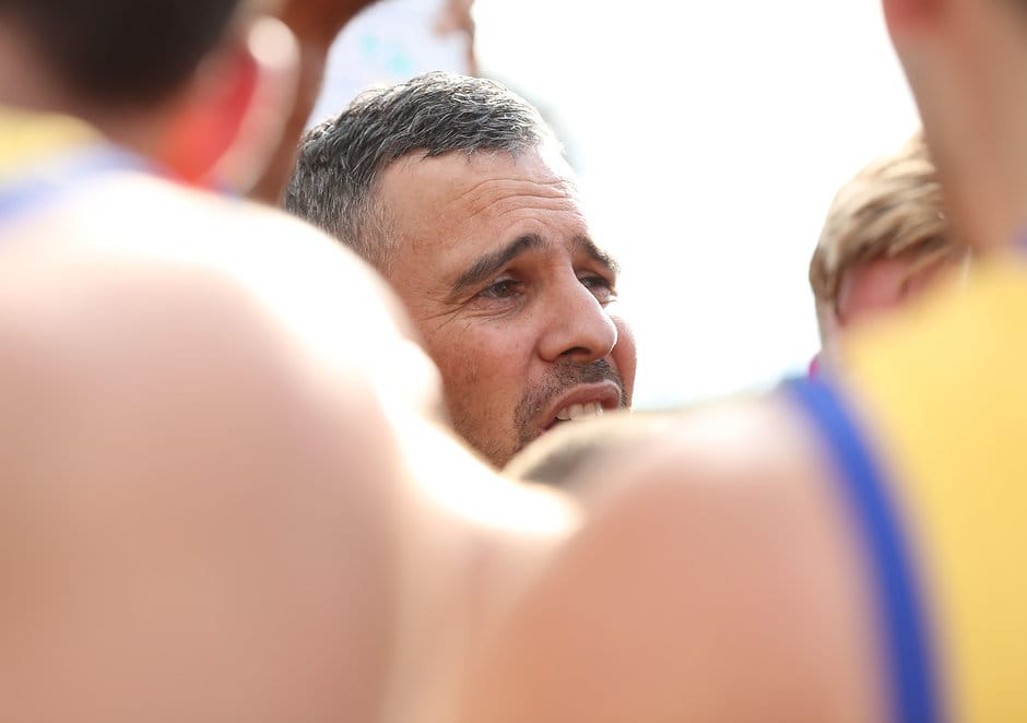 MELBOURNE, AUSTRALIA - APRIL 22:  Sandringham coach Lindsay Gilbee is seen at the break during the round two VFL match between Sandringham and Richmond at Trevor Barker Beach Oval on April 22, 2017 in Melbourne, Australia.  (Photo by Robert Cianflone/AFL Media)