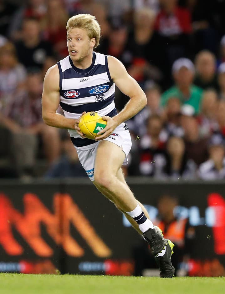 MELBOURNE, AUSTRALIA - APRIL 23: George Horlin-Smith of the Cats in action during the 2017 AFL round 05 match between the St Kilda Saints and the Geelong Cats at Etihad Stadium on April 23, 2017 in Melbourne, Australia. (Photo by Adam Trafford/AFL Media)