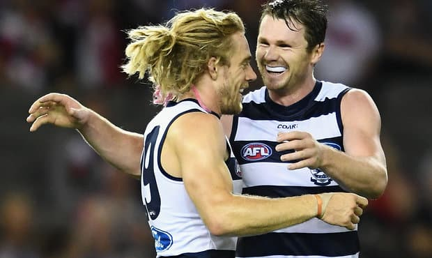 MELBOURNE, AUSTRALIA - APRIL 23:  Cameron Guthrie and Patrick Dangerfield of the Cats celebrate a goal during the round five AFL match between the St Kilda Saints and the Geelong Cats at Etihad Stadium on April 23, 2017 in Melbourne, Australia.  (Photo by Quinn Rooney/Getty Images/AFL Media)