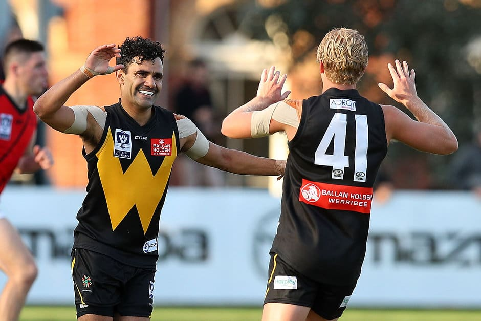 Lindsay Thomas, pictured earlier this year, made his return from suspension for Werribee on Saturday - AFL,Around the State Leagues