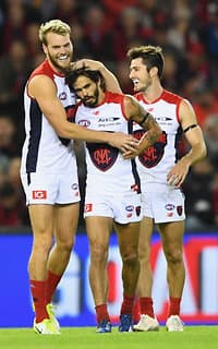 The Demons were all smiles after grabbing their third win of the season