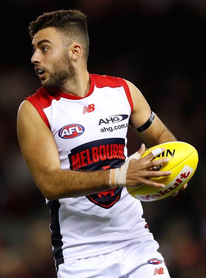 MELBOURNE, AUSTRALIA - APRIL 30: Christian Salem of the Demons in action during the 2017 AFL round 06 match between the Essendon Bombers and the Melbourne Demons at Etihad Stadium on April 30, 2017 in Melbourne, Australia. (Photo by Adam Trafford/AFL Media)