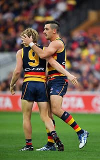 ADELAIDE, AUSTRALIA - APRIL 30: (L-R) Rory Sloane and Taylor Walker of the Crows embrace during the round six AFL match between the Adelaide Crows and the Richmond Tigers at Adelaide Oval on April 30, 2017 in Adelaide, Australia.  (Photo by Daniel Kalisz/Getty Images/AFL Media)