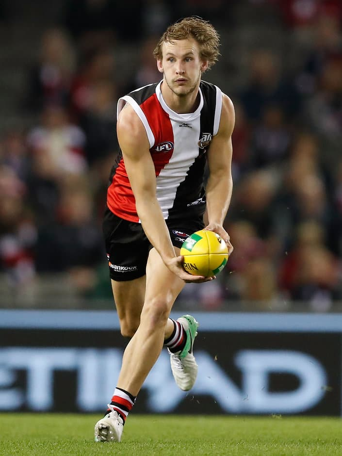 MELBOURNE, AUSTRALIA - MAY 05: Jimmy Webster of the Saints handpasses the ball during the 2017 AFL round 07 match between the St Kilda Saints and the GWS Giants at Etihad Stadium on May 05, 2017 in Melbourne, Australia. (Photo by Adam Trafford/AFL Media)