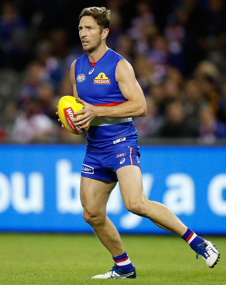 MELBOURNE, AUSTRALIA - MAY 06: Matthew Boyd of the Bulldogs in action during the 2017 AFL round 07 match between the Western Bulldogs and the Richmond Tigers at Etihad Stadium on May 06, 2017 in Melbourne, Australia. (Photo by Michael Willson/AFL Media)
