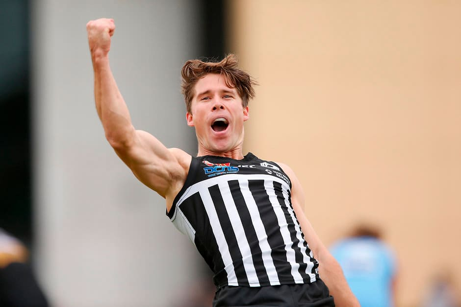 ADELAIDE, AUSTRALIA - MAY 07: Steven Summerton of the Magpies celebrates a goal during the 2017 SANFL round 05 match between the Port Adelaide Magpies and Sturt at Alberton Oval on May 07, 2017 in Adelaide, Australia. (Photo by James Elsby/AFL Media)