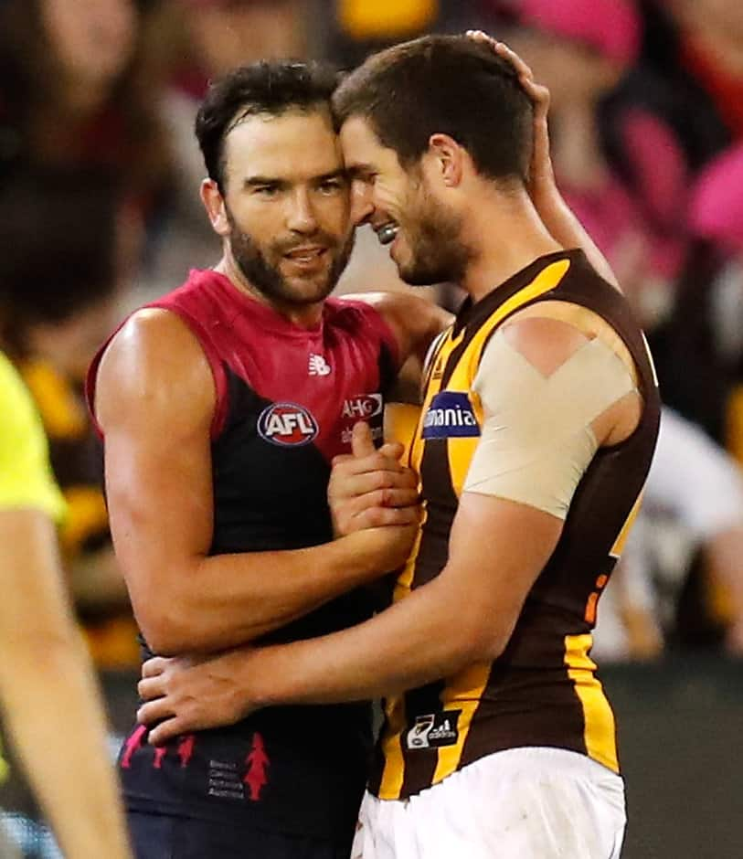 MELBOURNE, AUSTRALIA - MAY 07: Jordan Lewis of the Demons and Ben Stratton of the Hawks chat during the 2017 AFL round 07 match between the Melbourne Demons and the Hawthorn Hawks at the Melbourne Cricket Ground on May 07, 2017 in Melbourne, Australia. (Photo by Michael Willson/AFL Media)