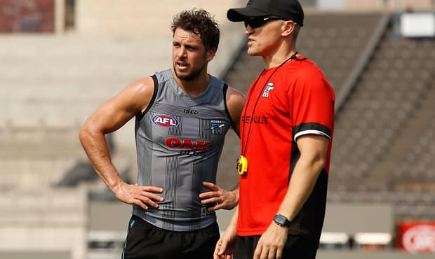 SHANGHAI, CHINA - MAY 11: Travis Boak of the Power (left) and Darren Burgess, Head of High Performance of the Power chat during the Port Adelaide Power training session at Jiangwan Stadium on May 11, 2017 in Shanghai, China. (Photo by Michael Willson/AFL Media)