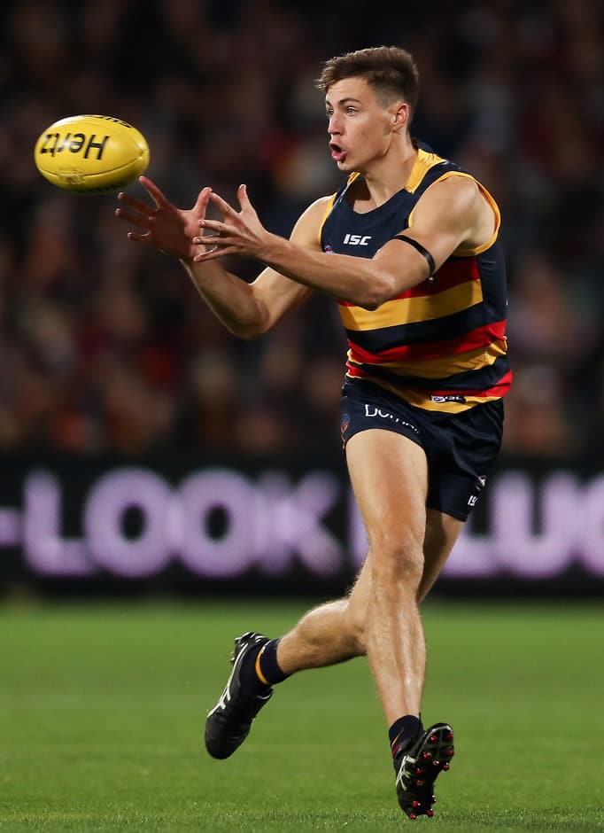 ADELAIDE, AUSTRALIA - MAY 13: Jake Kelly of the Crows during the 2017 AFL round 08 match between the Adelaide Crows and the Melbourne Demons at the Adelaide Oval on May 13, 2017 in Adelaide, Australia. (Photo by AFL Media)