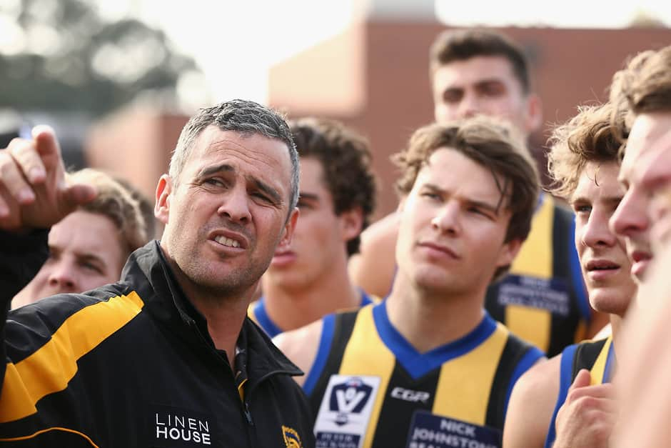 MELBOURNE, AUSTRALIA - MAY 14:  Lindsay Gilbee coach of Sandringham speaks during the 2017 VFL round 05 match between the Coburg Lions and the Sandringham Zebras at Piranha Park on May 14, 2017 in Melbourne, Australia.  (Photo by Rob Prezioso/AFL Media)