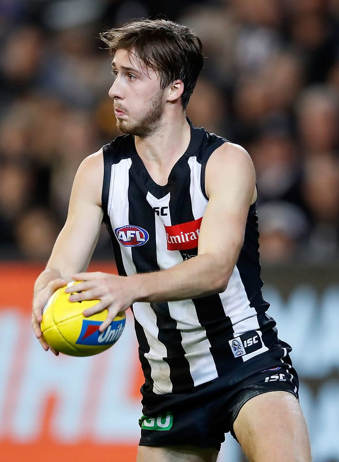 MELBOURNE, AUSTRALIA - MAY 20: Tom Phillips of the Magpies in action during the 2017 AFL round 09 match between the Collingwood Magpies and the Hawthorn Hawks at the Melbourne Cricket Ground on May 20, 2017 in Melbourne, Australia. (Photo by Adam Trafford/AFL Media)