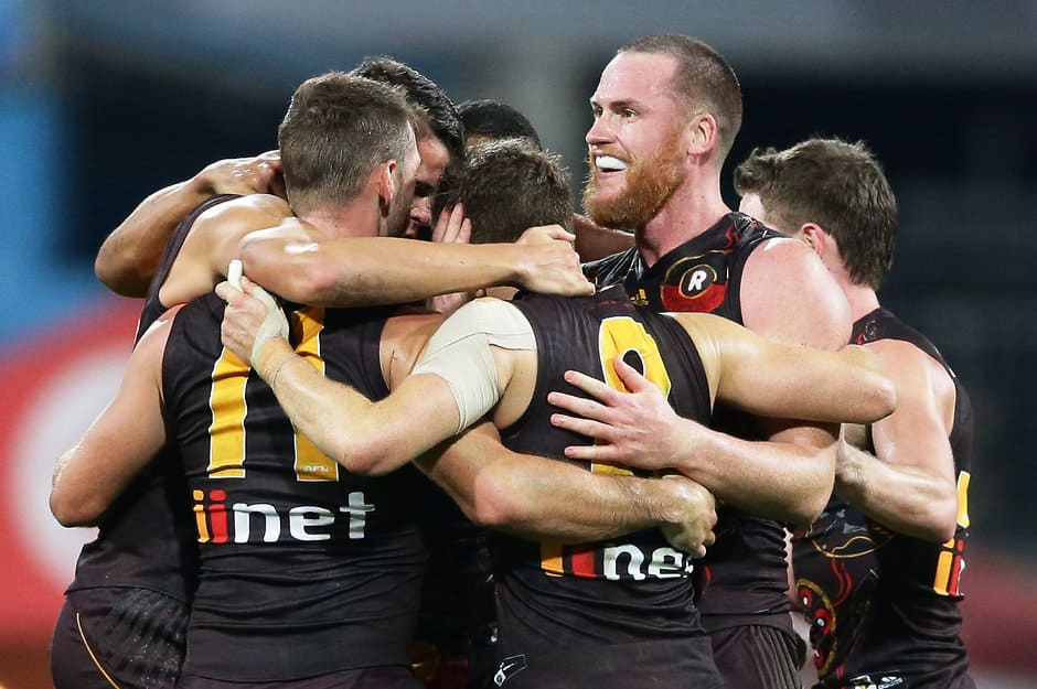 Jarryd Roughead celebrates his captain's goal that brought victory against the Swans - AFL,Hawthorn Hawks,Sydney Swans,Adelaide Crows,Geelong Cats,Port Adelaide Power,Melbourne Demons,West Coast Eagles