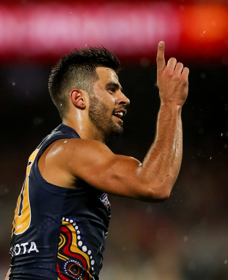 ADELAIDE, AUSTRALIA - MAY 27: Wayne Milera of the Crows celebrates a goal during the 2017 AFL round 10 match between the Adelaide Crows and the Fremantle Dockers at the Adelaide Oval on May 27, 2017 in Adelaide, Australia. (Photo by AFL Media)