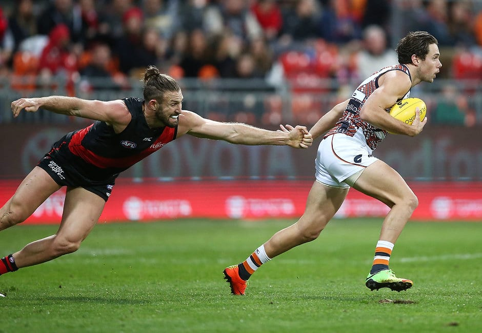 SYDNEY, AUSTRALIA - JUNE 03:  Josh Kelly of the Giants in action during the round 11 AFL match between the Greater Western Sydney Giants and the Essendon Bombers at Spotless Stadium on June 3, 2017 in Sydney, Australia.  (Photo by Mark Metcalfe/AFL Media/Getty Images)