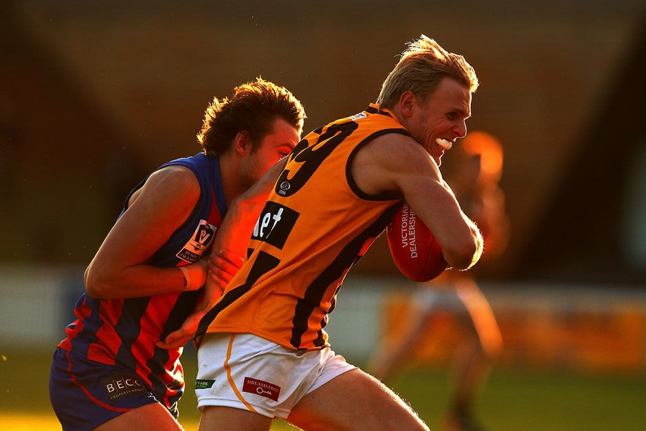Will Langford in action for Box Hill against Port Melbourne - AFL,Around the State Leagues
