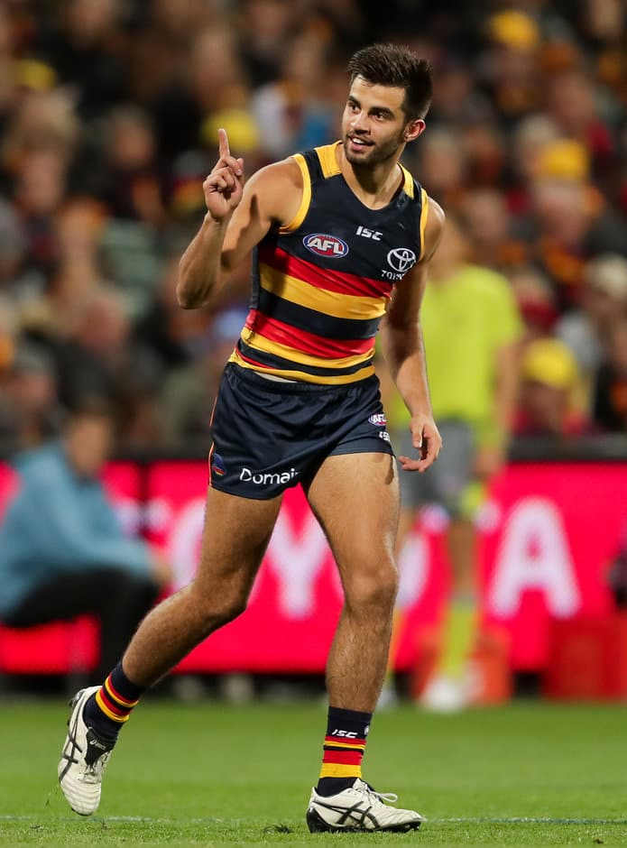 ADELAIDE, AUSTRALIA - JUNE 09: Wayne Milera of the Crows celebrates a goal during the 2017 AFL round 12 match between the Adelaide Crows and the St Kilda Saints at the Adelaide Oval on June 09, 2017 in Adelaide, Australia. (Photo by AFL Media)