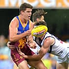 BRISBANE, AUSTRALIA - JUNE 10: Jarrod Berry of the Lions gets a handball away during the 2017 AFL round 12 match between the Brisbane Lions and the Fremantle Dockers at the Gabba on June 10, 2017 in Brisbane, Australia. (Photo by Bradley Kanaris/AFL Media)