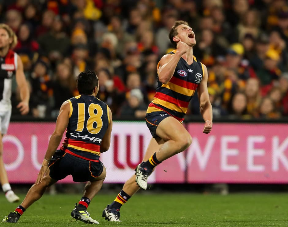 ADELAIDE, AUSTRALIA - JUNE 09: Jonathon Beech of the Crows celebrates his first goal in AFL during the 2017 AFL round 12 match between the Adelaide Crows and the St Kilda Saints at the Adelaide Oval on June 09, 2017 in Adelaide, Australia. (Photo by AFL Media)