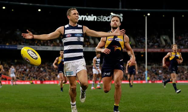 Joel Selwood appeals for deliberate during Thursday night's loss to the Eagles