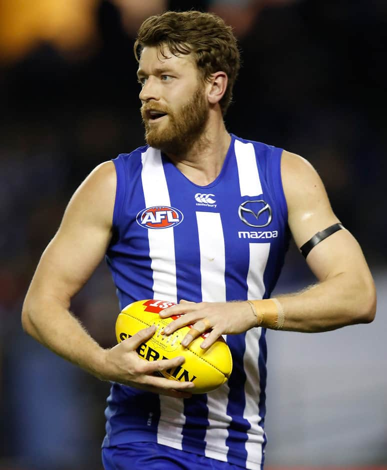 MELBOURNE, AUSTRALIA - JUNE 16: Lachlan Hansen of the Kangaroos in action during the 2017 AFL round 13 match between the North Melbourne Kangaroos and the St Kilda Saints at Etihad Stadium on June 16, 2017 in Melbourne, Australia. (Photo by Michael Willson/AFL Media)
