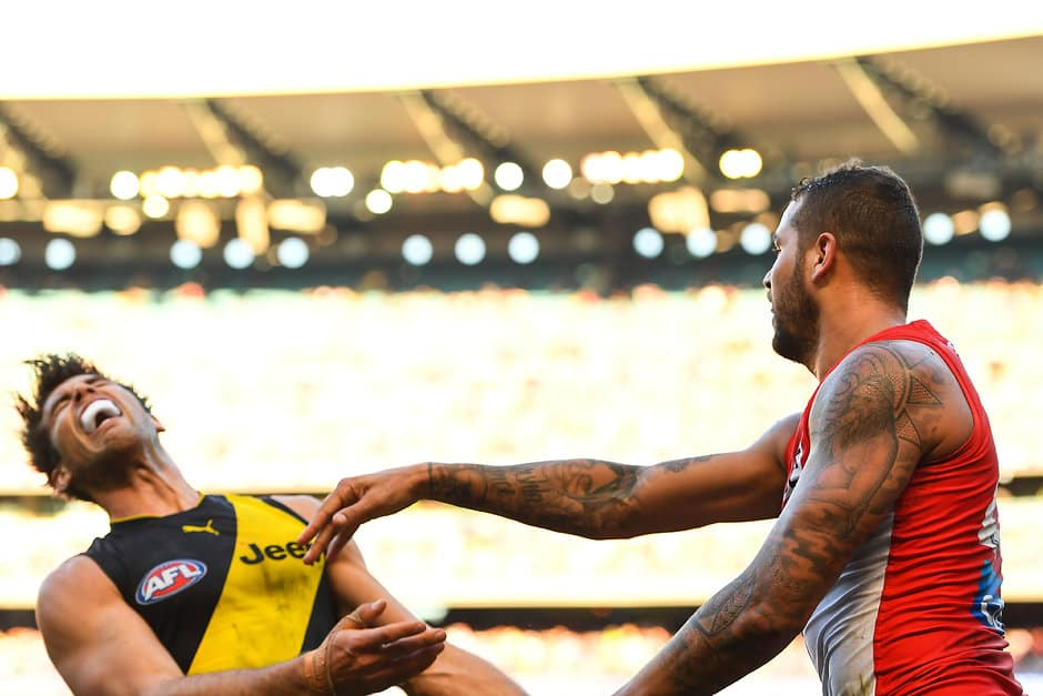 MELBOURNE, AUSTRALIA - JUNE 17: Alex Rance of the Tigers is pushed by Lance Franklin of the Swans during the 2017 AFL round 13 match between the Richmond Tigers and the Sydney Swans at the Melbourne Cricket Ground on June 17, 2017 in Melbourne, Australia. (Photo by Daniel Carson/AFL Media)