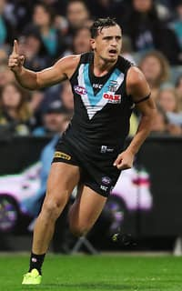 Young gun Sam Powell-Pepper kicked two goals against the Lions