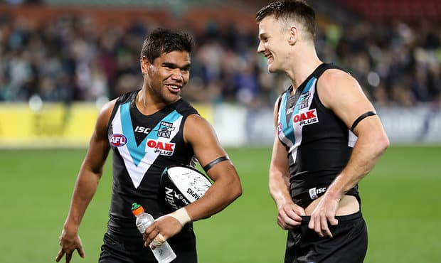 ADELAIDE, AUSTRALIA - JUNE 17: Jake Neade and Robbie Gray of the Power after victory in the 2017 AFL round 13 match between Port Adelaide Power and the Brisbane Lions at the Adelaide Oval on June 17, 2017 in Adelaide, Australia. (Photo by AFL Media)