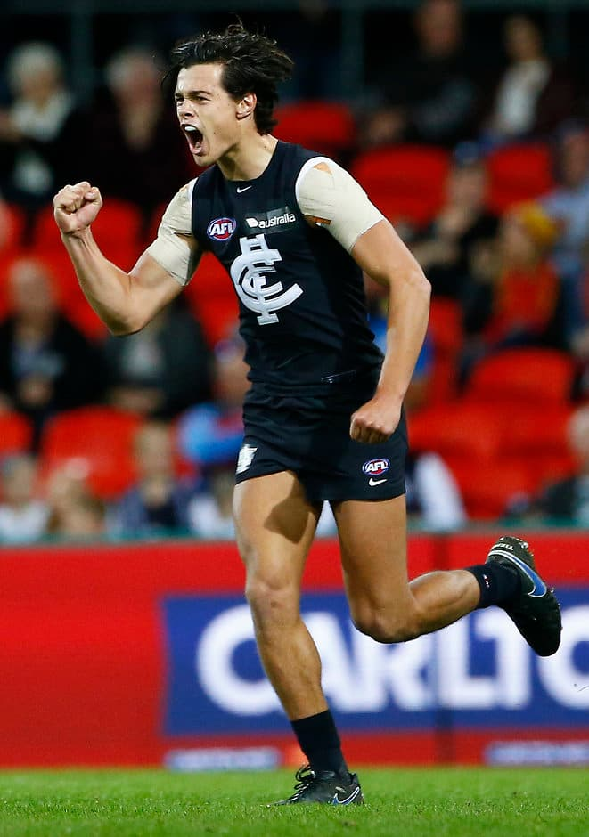 GOLD COAST, AUSTRALIA - JUNE 17: Jack Silvagni of the blues celebrates a goal during the 2017 AFL round 13 match between the Gold Coast Suns and the Carlton Blues at Metricon Stadium on June 17, 2017 in Gold Coast, Australia. (Photo by Jason O'Brien/AFL Media)