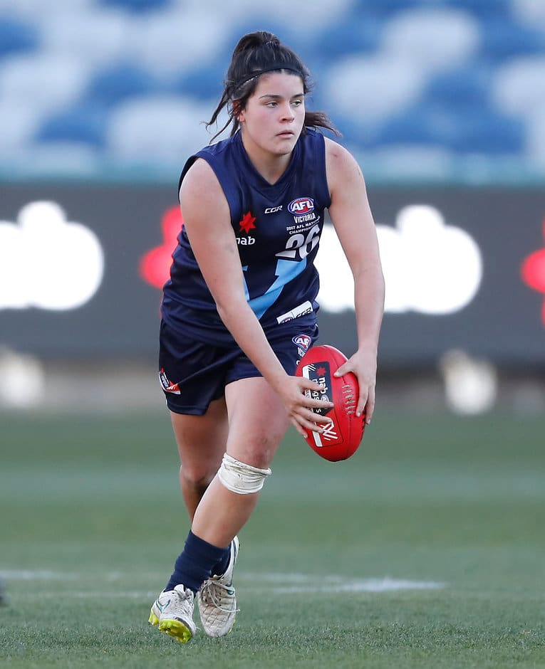 GEELONG, AUSTRALIA - JUNE 17: Madison Prespakis of Vic Metro in action during the 2017 AFLW Under 18 Championships match between Vic Country and Vic Metro at Simonds Stadium, Geelong on June 17, 2017 in Geelong, Australia. (Photo by Adam Trafford/AFL Media)