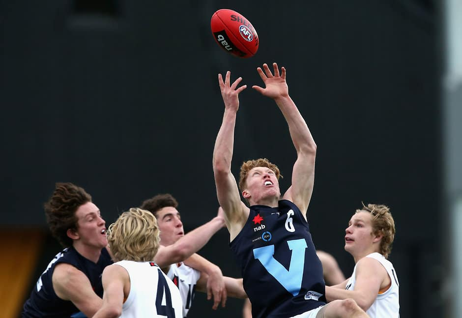 MELBOURNE, AUSTRALIA - JUNE 24: Matthew Rowell of Vic Metro marks during the 2017 AFL Under 16 Championship match between Vic Metro and Vic Country at Punt Road Oval on June 24, 2017 in Melbourne, Australia. (Photo by Rob Prezioso/AFL Media)