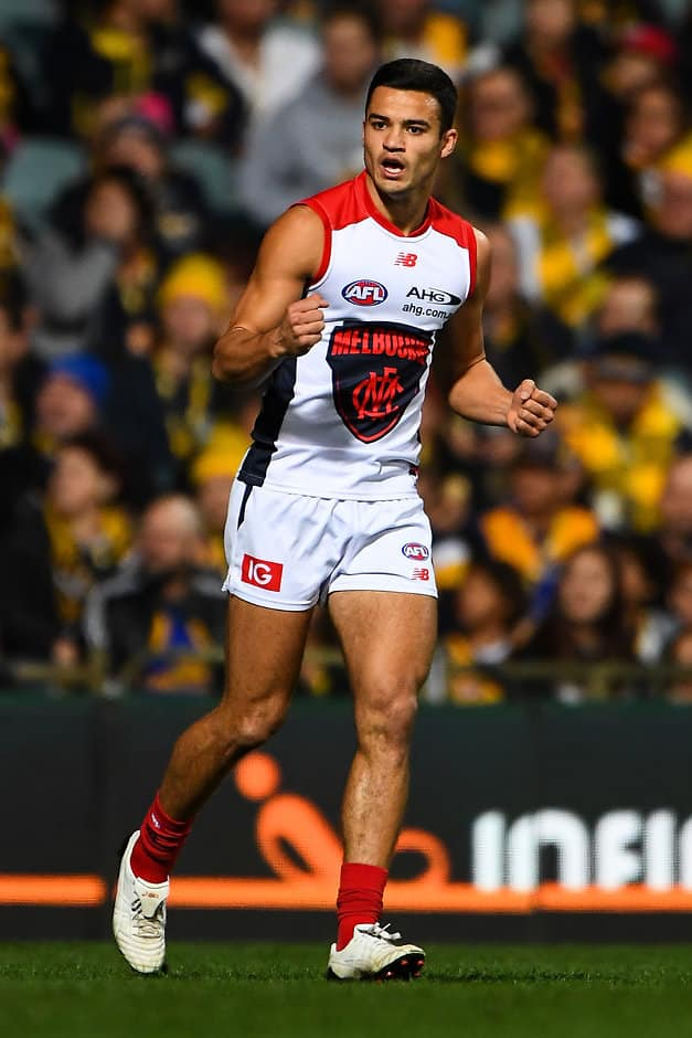 PERTH, AUSTRALIA - JUNE 24: Billy Stretch of the Demons celebrates a goal during the 2017 AFL round 14 match between the West Coast Eagles and the Melbourne Demons at Domain Stadium on June 24, 2017 in Perth, Australia. (Photo by Daniel Carson/AFL Media)