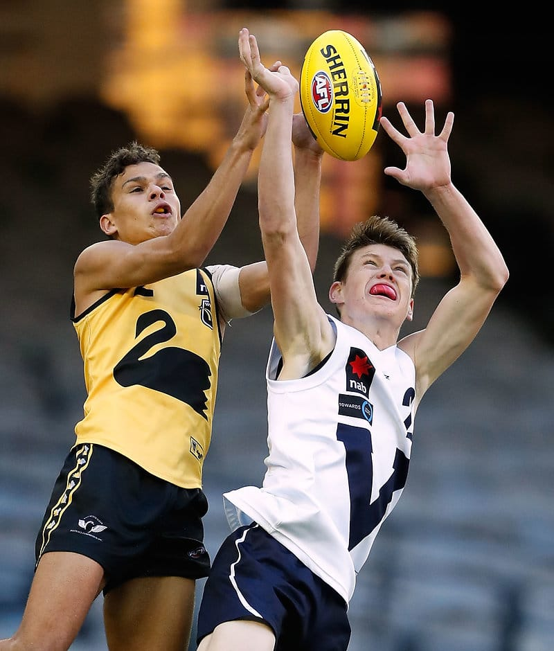 Ian Hill (left) flies for a mark - AFL,Draft,Under-18s,Ian Hill