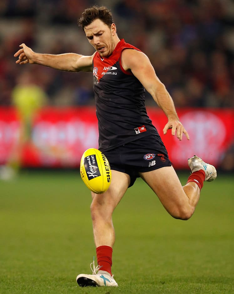 MELBOURNE, AUSTRALIA - JUNE 30: Michael Hibberd of the Demons kicks the ball during the 2017 AFL round 15 match between the Melbourne Demons and the Sydney Swans at the Melbourne Cricket Ground on June 30, 2017 in Melbourne, Australia. (Photo by Michael Willson/AFL Media)