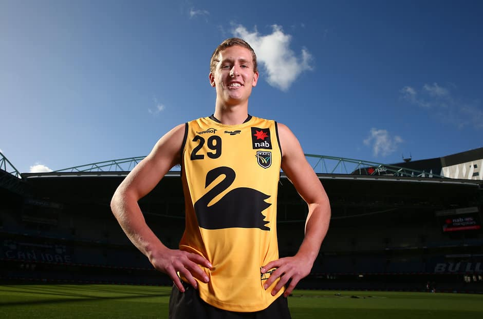 MELBOURNE, AUSTRALIA - JUNE 30: Aaron Naughton of Western Australia poses during the 2017 Under 18 Championships portrait session at Etihad Stadium on June 30, 2017 in Melbourne, Australia. (Photo by Scott Barbour/AFL Media)