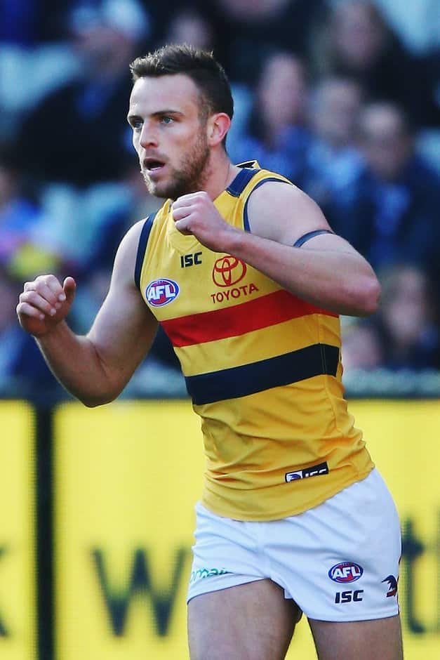 MELBOURNE, AUSTRALIA - JULY 01:  Brodie Smith of the Crows celebrates a goal during the round 15 AFL match between the Carlton Blues and the Adelaide Crows at Melbourne Cricket Ground on July 1, 2017 in Melbourne, Australia.  (Photo by Michael Dodge/Getty Images/AFL Media)