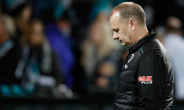 ADELAIDE, AUSTRALIA - JULY 01: Ken Hinkley, Senior Coach of the Power looks dejected after a loss during the 2017 AFL round 15 match between the Port Adelaide Power and the Richmond Tigers at Adelaide Oval on July 01, 2017 in Adelaide, Australia. (Photo by Michael Willson/AFL Media)