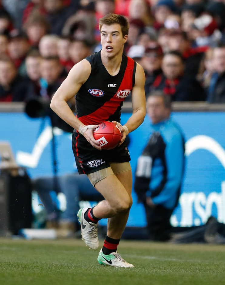 MELBOURNE, AUSTRALIA - JULY 02: Zach Merrett of the Bombers in action during the 2017 AFL round 15 match between the Essendon Bombers and the Brisbane Lions at Etihad Stadium on July 02, 2017 in Melbourne, Australia. (Photo by Adam Trafford/AFL Media)