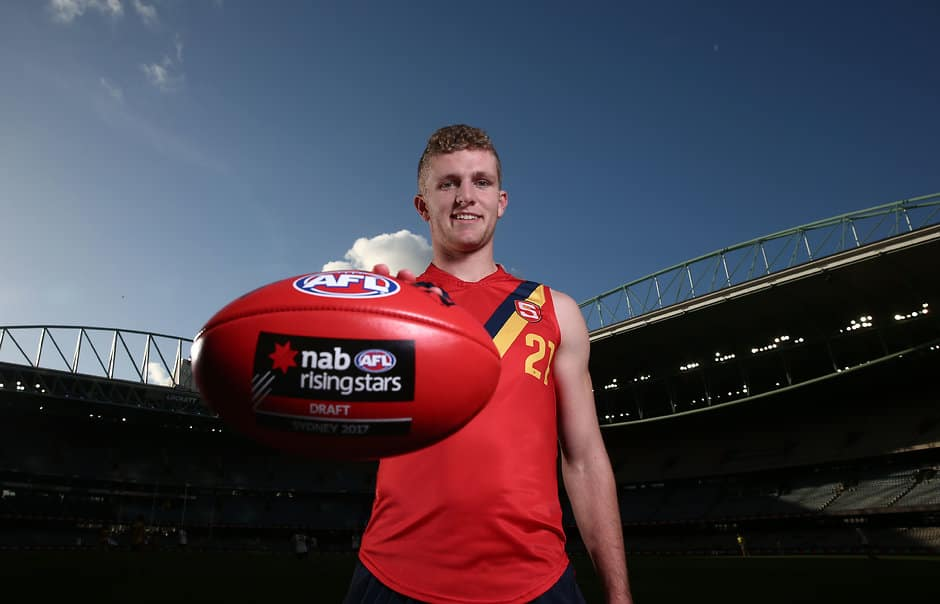 MELBOURNE, AUSTRALIA - JUNE 30:  Andrew McPherson of South Australia poses during the 2017 Under 18 Championships portrait session at Etihad Stadium on June 30, 2017 in Melbourne, Australia. (Photo by Scott Barbour/AFL Media)