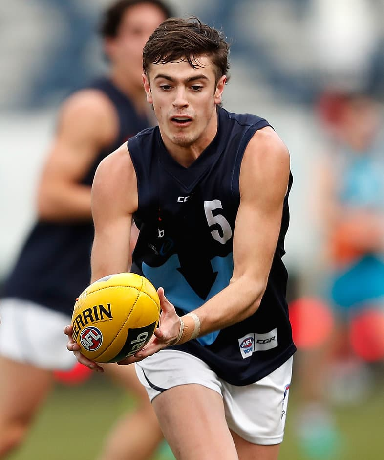 Father-son Tiger Patrick Naish in action during the U18 champs - AFL,Under-18s,Patrick Naish,Draft,Cameron Rayner